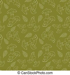 Vector seamless pattern with white silhouette of amanitas on a green background. Beautiful design for fabric, wrapping paper, clothing