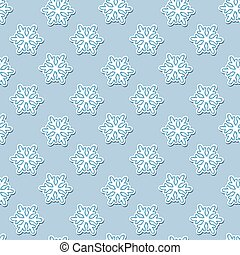 Vector seamless pattern with White snowflakes on a blue