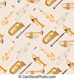 Vector seamless pattern with wind musical instruments