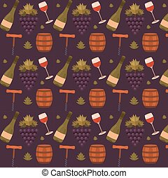 Vector seamless pattern with wine