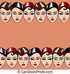 Vector seamless pattern with woman faces