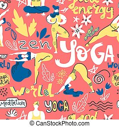Vector seamless pattern with yogis and yoga symbols in flat folk style