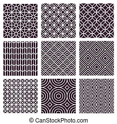 Vector seamless patterns in trendy mono line style - Vector...