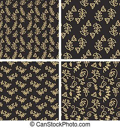 Vector seamless patterns - sketch flowers in gold and black color