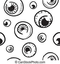 vector, seamless, plano de fondo, globo ocular
