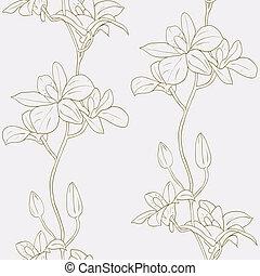 vector, seamless, plano de fondo, orquídeas