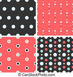 Vector seamless poka dot tiling patterns