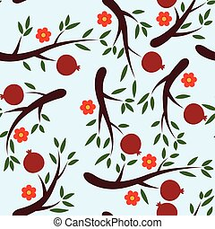 vector seamless pomegranate background pattern with fruits and flowers