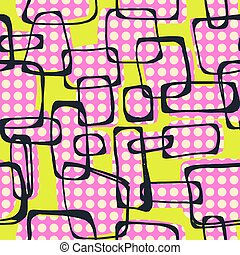 Vector seamless Pop Art 1960s ink drawn pattern.Hand painted...