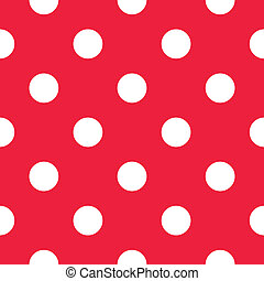vector, seamless, puntos, rojo, patrón