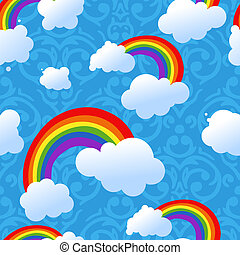 Vector seamless rainbow and clouds background