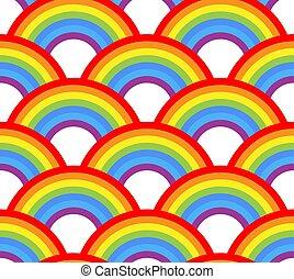 Vector seamless rainbow pattern on white background.