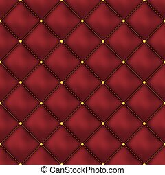 Vector seamless red buttoned leather pattern vector. Upholstery or walls.