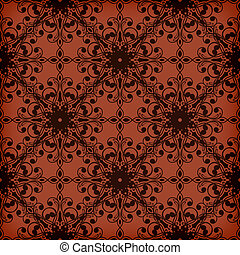 Vector Seamless Red Floral Pattern