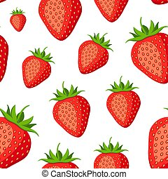 Vector seamless red pattern on white. Bright fruit background