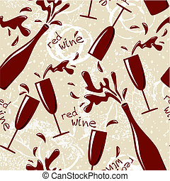 Vector seamless red wine pattern