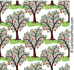 vector seamless repeating pattern with apple trees with fruits