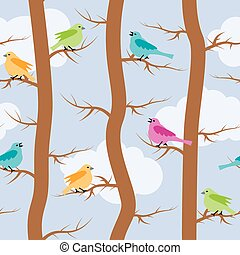 vector seamless repeating pattern with birds and trees