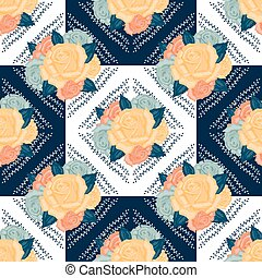 Vector seamless retro flowers pattern