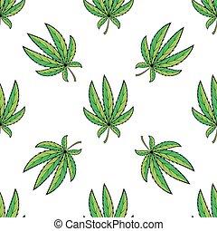 Vector seamless retro pattern, cannabis green leaf