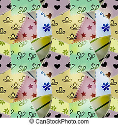 vector seamless retro pattern, consists of small textile pieces