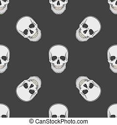 Vector seamless retro pattern, skull