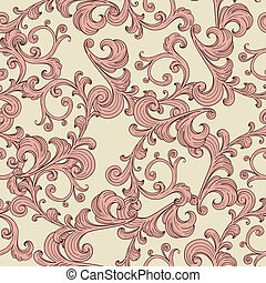 vector seamless romantic background with vintage floral ornament, seamless pattern in swatch menu