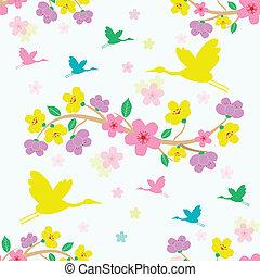 seamless sakura blossom background