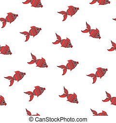 vector seamless sea pattern with animal red fish