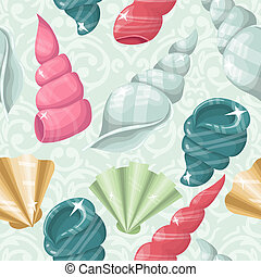 vector Seamless seashell background