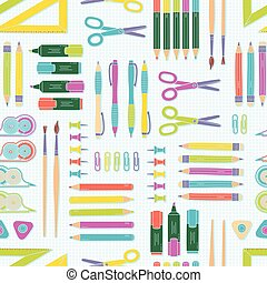 Vector seamless stationery pattern. School and office background.