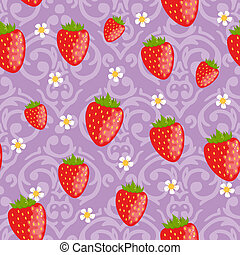 Vector Seamless strawberries background