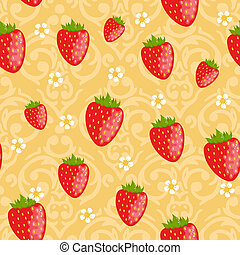 Vector Seamless strawberries pattern