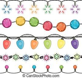 vector seamless strings of christmas light garland lamps