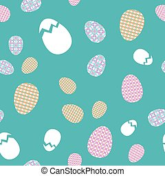 Vector seamless texture. Easter eggs with oriental spring geometric and floral ornaments
