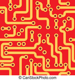 Vector seamless texture - red circuit board