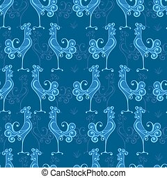 Vector seamless texture with roosters pattern