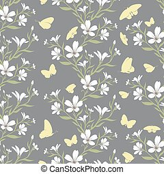 Vector seamless tiling pattern - romantic flowers - Vector...
