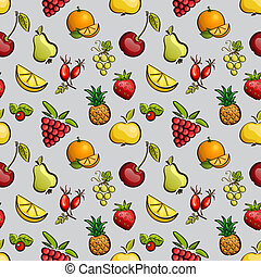 Vector seamless tiling patterns - fruits and berries.