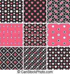 Vector seamless tiling patterns - geometric, polka dot, hearts