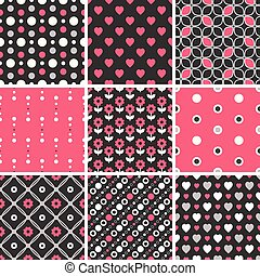 Vector seamless tiling patterns - geometric, polka dot, hearts