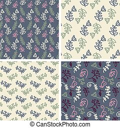Vector seamless tiling patterns - sketch flowers