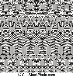 vector, seamless, tribal, pattern., resumen, geométrico, fondo.