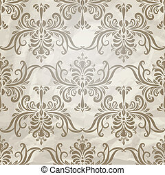 vector, seamless, vendimia, pauta papel pintado