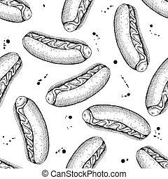 Vector seamless vintage hot dog pattern. Hand drawn monochrome f