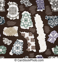 vector seamless vintage pattern with torn floral patterns