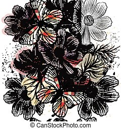 Vector seamless wallpaper pattern with hand drawn consmos flowers