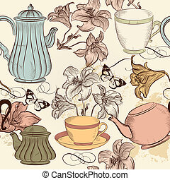 Vector seamless wallpaper with hand drawn cups of tea and...