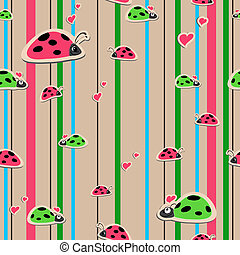 seamless wallpaper with ladybirds - vector seamless ...