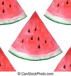 Vector seamless watercolor hand drawn watermelon pattern